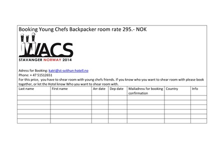 Booking Young Chefs Backpacker room rate 295-001